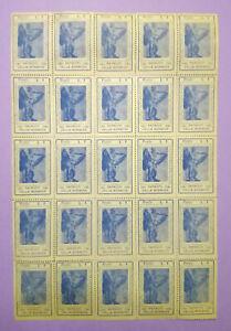 Foglio 25 Francobolli PATRIOTI VALLE BORMIDA 1943-1945 L.1 lire filatelia bolli