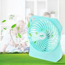 Brushless Fan USB Rechargeable 3 Gears Speed LED Desk Fan 5-10V Light Green O2L4