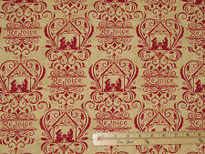Rejoice in the Season Red on Gold Christmas Nativity Fabric  1/2 Yard  #19761-15