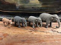 Lot de 3 Éléphant de Crèche Santon Ancien Vache XIXeme