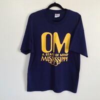 VTG OM Mississippi STATE OF MIND Navy Graphic T-shirt Men's Sz XL Single Stitch