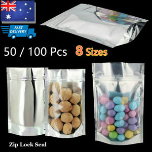 50/100 Pcs Clear Aluminum Silver Foil Stand Up Pouch Zip Lock Bag Seal Food Bags