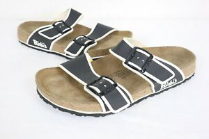 Birkenstock Birkies 280 Mens sz 10 Black White Double Strap Sandals