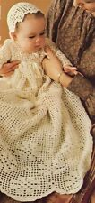 CHRISTENING DRESS & BONNET birth to 6 months - COPY baby crochet pattern
