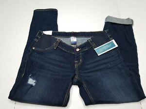 Old navy maternity jeans 8R Boyfriend Skinny Distressed Elastic Side Panels dark