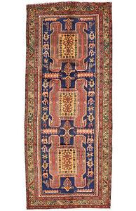 Vintage Tribal Oriental Hamadan Runner, 4'x10', Blue, Hand-Knotted Wool Pile