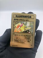 X1 Pokemon Illustrator Pikachu Gold Metal Card Custom Holo Promo