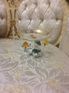 TOLE Ware FLAMINGO CRYSTAL  24 Karat Gold with Roses Base Pedestal/Candy Dish