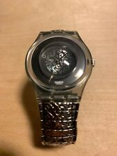 Vintage Metal Band Swatch Watch With Silver Design