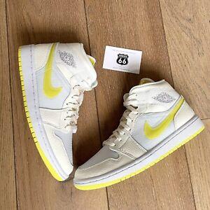 Nike Air Jordan 1 Mid SE Voltage Yellow White Sail UK4   EU37.5 Brand New!