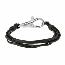 Men's Brown Leather Multi Strand Bracelet With Feature Clasp by Urban Male