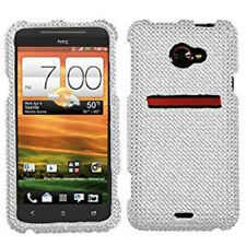 For HTC EVO 4G LTE Crystal Diamond BLING Hard Case Phone Cover Silver