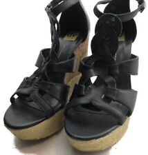 Dolce Vida Womens Size 8.5 Black Wedges Leather Upper Back Zip Ankle Strap