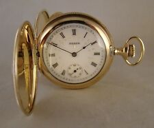 124 YEARS OLD ELGIN 10k GOLD FILLED HUNTER CASE FANCY DIAL GREAT POCKET WATCH