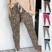 Womens Leopard Printed Tracksuit Joggers Trousers Jogging Gym Harem Pants 8-14