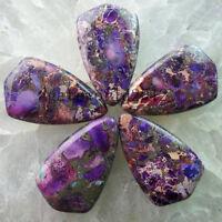 5pcs Beautiful Purple Sea Sediment Jasper & Pyrite Pendant Bead 32x20x6mm WH632