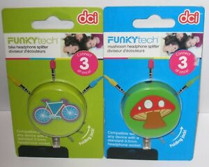 DCI Funkytech Headphone Splitter Folding Jack Connect 3 At Once  NEW Free Ship