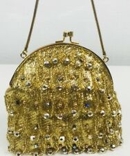 Vtg  Rubella London Exclusive Model Jewelled gold Chain evening bag 1950s Gatsby
