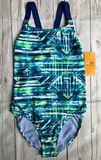 Bathing Suit size Large 12 14 Womens NEW One Piece Racer. Ack Blue Green NWT