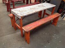 FRENCH FOLD UP CAFE TABLE AND 2 BENCHES