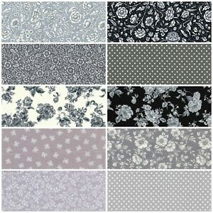 Black / Grey 100% Cotton Floral Fabric sold per half metre continuous, Bundle