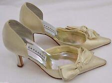 Caparros Ivory satin Heels Bridal Evening high Heel Shoes open side pumps 7 B