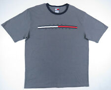 Vintage 90s Tommy Hilfiger Gray Spell Out Big Flag Logo Ringer Tee T-Shirt XL