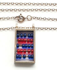 Mathematics Abacus Curb Link Vintage 925 Solid Silver Chain Necklace Choker
