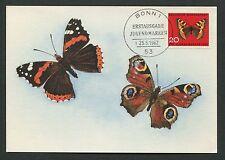 BUND MK 1962 SCHMETTERLINGE BUTTERFLY MAXIMUMKARTE CARTE MAXIMUM CARD MC d4574