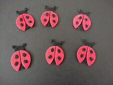 6 Ladybird die cuts, craft embellishments, Card toppers, buntings, box frames.