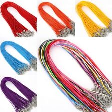 Mix Colour Necklace Faux Leather Cord String Lobster Clasp Braided Blank DIY UK