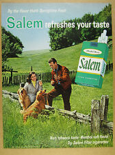 1966 golden retriever dogs photo Salem Cigarettes vintage print Ad