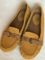 Ariat Women's Size 7.5 Tan Suede Leather Driving Moccasin Loafer Slip-On EUC
