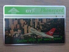 BT Phonecard, Virgin Atlantic: Boston, 20units, Used