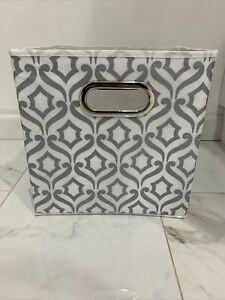 2PCS Relaxed Living 11-Inch Décorative Fabric Storage Bin in Metallic Silver