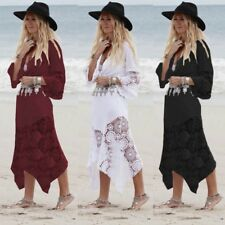 Women Summer Beach Party V Neck Lace Crochet Plus Size Long Maxi Dress Sundress