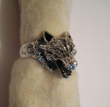 Mexican 925 Silver Taxco Etched CARVED 3-D WOLF HEAD Men's Unisex Ring Size  7