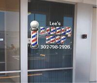 "CUSTOM 24"" x 36""  VINYL DECAL FOR BARBER SHOP HAIR DRESSER WALL OR WINDOW NEW!"