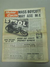 Motor Cycle Newspaper, Sept 4, 1968, Mass Boycott May Axe M-X.   MCNP 68