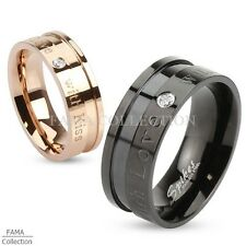 """FAMA """"With Love with Kiss"""" Inscribed Stainless Steel Ring w/ Single CZ Size 5-13"""