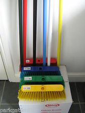 Deluxe Brush & Handle Screw Fit Broom Hard & Soft  Bristles Various Colours