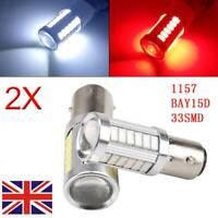 2x 1157 P21/5W 380 BAY15D 33smd CAR STOP TAIL BRAKE Reverse LED BULBS LIGHT
