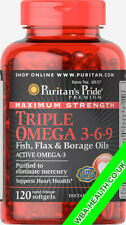PURITANS PRIDE MAXIMUM STRENGTH TRIPLE OMEGA 3-6-9 FISH,FLAX&BORAGE OILS(157)