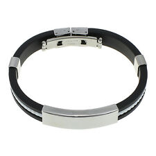 Mens Stainless Steel Bracelet Black White Silicone  Wristband Gift