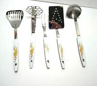 FIVE Vintage Stanley Kitchen Utensils Stainless Steel Cornucopia NOS