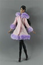 3in1 Fashion PURPLE  Winter fur Coats Outfit+boot+legging For 11.5in.Doll