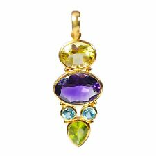 Multi gemstone Rose gold plated 925 Solid Silver Pendant Jewelry CCIPN-1320