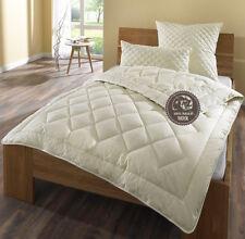 Luxus Winter Sommer Bettdecken 100% Schurwolle / Baumwolle Percal 200x220 Creme