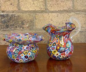 Small Italian Millefiori Glass Creamer and Sugar Bowl