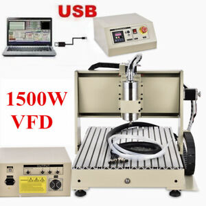 220V USB 3 Axis 6040 CNC Router Engraver 1500W Drilling Milling Machine VFD NEW